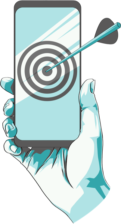 Illustration of a hand holding a phone